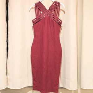 Missguided Red Bodycon V Strap Dress